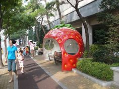 Fruit Bus Stop in Japan