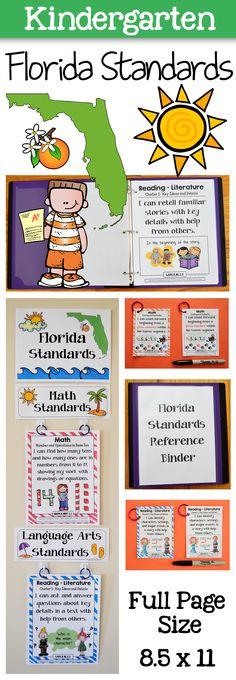 Kindergarten Florida Standards Bundle - Print, laminate, done! $