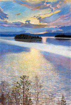 """LAKE VIEW"" Artist: Akseli Gallen-Kallela (Finland oil on canvas x cmAteneum Art Museum, Helsinki Nordic Art, Scandinavian Art, Landscape Art, Landscape Paintings, Art Moderne, Lake View, Helsinki, Art Museum, Painting & Drawing"