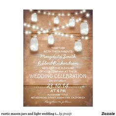 "rustic mason jars and light wedding invitations 5"" x 7"" invitation card"