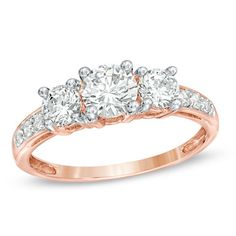 Lab-Created White Sapphire Three Stone Ring in 10K Rose Gold.... Right hand