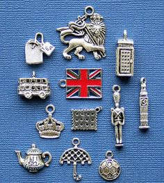 London Charm Collection Antique Tibetan Silver Tone The Ultimate 12 Different Charms - COL194