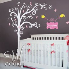 If I ever have a baby girl she's going to have the cutest little room!! Romantic Tree with Custom Name   Nursery Wall Decal by wcookie, $129.00