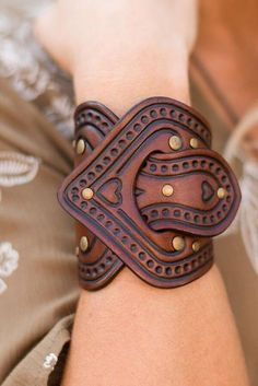 Overlap tooled vegan dyed leather bracelet cuff by Karen Kell with antiqued brass grommets and accent stamped heart & flowers. Handcrafted heirloom quality bracelet. Genuine vegetable dyed leather