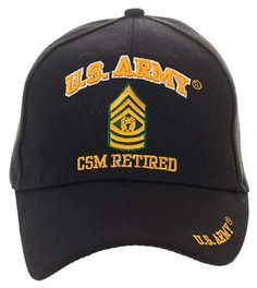 351fb9465 Artisan Owl Officially Licensed US Army Retired Baseball Cap - Multiple  Ranks Available! (Command Sergeant Major) at Amazon Men's Clothing store: