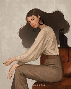 by Janice Sung Art Sketches, Art Drawings, Drawn Art, Arte Sketchbook, Digital Art Girl, Arte Pop, Portrait Illustration, Portrait Art, Aesthetic Art