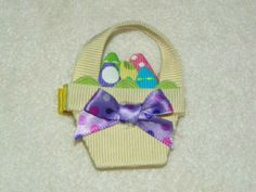 Easter basket hair bow clip