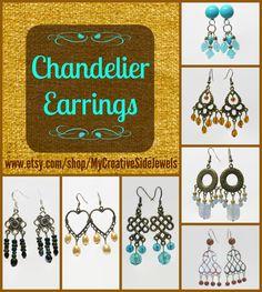Handmade chandelier earrings.  Treat yourself or gift shop.  SHOP: https://www.etsy.com/shop/MyCreativeSideJewels