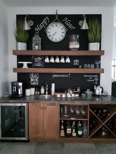 Outstanding DIY Coffee Bar Ideas for Your Cozy Home / Coffee Shop Awesome Coffee Bar Ideas that Will Makes All Coffee Lovers Falling in Love TAGS: Coffee bar ideas, Coffee station kitchen, DIY Coffee bar in kitchen, Farmhouse coffee bar, Keurig station Coffee Station Kitchen, Coffee Bars In Kitchen, Coffee Bar Home, Home Coffee Stations, Kitchen Small, Bar In Kitchen, Wine And Coffee Bar, Coffee Counter, Office Coffee Station