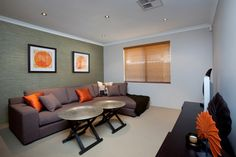 Cosy lounge room design - warm colours