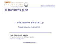 Business plan and startups (Italian)