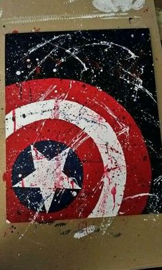 Drawing Superhero Super Heroes – Arts and Craft Ideas – Arts And Crafts – All DIY Projects - - Hero Arts, Marvel Room, Marvel Paintings, Superhero Room, Simple Wall Art, Captain America Shield, Captain America Painting, Captain America Drawing, Diy Art