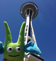 Green Guy visited the #SpaceNeedle in #Seattle!