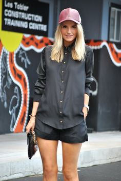OFS Styling tip: all black with touch of red for the day