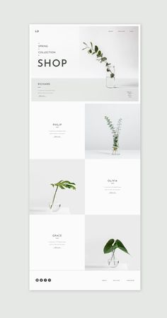Ui ki for ecommerce and online shops or Shopify stores. This web design template is minimal and botanical Web Design Trends, Design Web, Design Shop, Banner Web Design, Layout Design, Website Design Layout, Web Layout, Flat Design, Minimal Web Design
