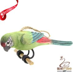 New listing! Hand-carved wooden parrot painted decorative wall carvings ZR10051 #ZL #Ornament