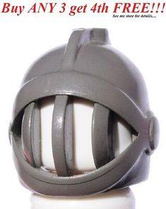 ☀️NEW Lego Minifig Hat Classic Dark Gray Grille Battle Castle Knight Helmet Lego Knights, Knights Helmet, Bicycle Helmet, Battle, Hats, Classic, Gray, Google Search, Halloween