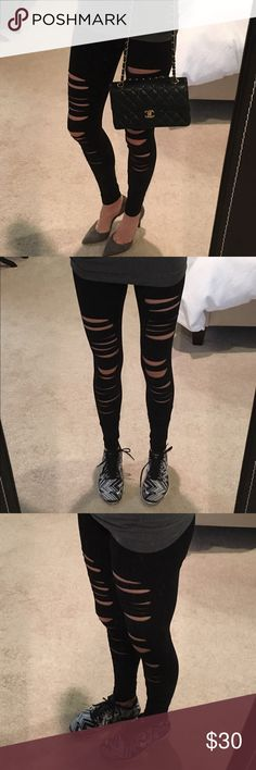 💕HOST PICK 4/12 RIPPED BLACK COMFORTABLE LEGGINGS Black ripped leggings . Super comfortable , super cute to dress up or down.  Made in USA . 3 sizes available . Boutique pricing  . 95% cotton 5%spandex . CHECK OUT MY FEEDBACK 📌PRICES ARE FIRM UNLESS BUNDLED  💰 BUNDLE TO SAVE MORE 10% bundle rate will apply. Small-2-4 medium- 4-6 Large- 6-8 📌NO TRADING 📌NO OFF SITE TRANSACTION. THESE ARE A NICE LENGTH SO CAN BE GREAT FOR A TALL WOMAN AS WELL ! Pants Leggings