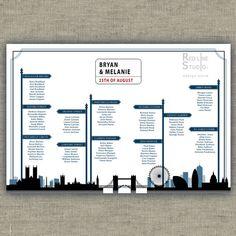 Tableau de mariage a tema Città di Londra con silhouette e