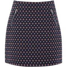 Warehouse Diamond Jacquard Skirt (74 CAD) ❤ liked on Polyvore featuring skirts, mini skirts, other, zipper skirt, jacquard skirt and embroidered skirt