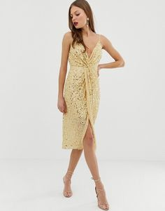 Buy ASOS DESIGN midi strappy cami dress with knot front plunge in scatter sequin at ASOS. With free delivery and return options (Ts&Cs apply), online shopping has never been so easy. Get the latest trends with ASOS now. New Look Leggings, Going Out Dresses, Latest Dress, Mi Long, Models, Star Fashion, Jumpsuits For Women, Dress To Impress, Fashion Online