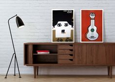 Scandy sideboard. Those white frames really make the artwork pop.