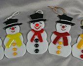 Items similar to Handmade Fused Glass Snowman Christmas Tree Ornament on Etsy