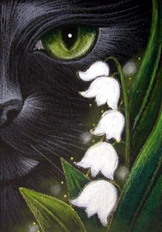 Art: BLACK CAT - MAY LILY OF THE VALLEY FLOWERS by Artist Cyra R. Cancel