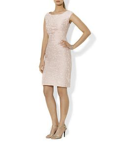 Petite Cap-Sleeved Jacquard Dress | Lord and Taylor