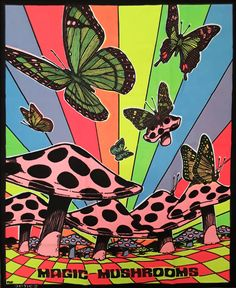 Tie Dye Tapestries - beautiful colors in this butterflies and magic mushrooms tapestry glow under any blacklight Psychedelic Drawings, Trippy Drawings, Art Drawings, Hippie Painting, Trippy Painting, Trippy Tapestry, Psychedelic Tapestry, Psychedelic Decor, Mushroom Art