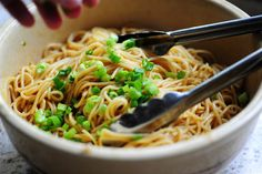 simple sesame noodles: 1/4 cup soy sauce, 2-3 chopped garlic cloves, 2 tblsp rice vinegar, 3 tsp honey, 2 tsp sesame oil, chopped chili, cover noodles, add spring onion
