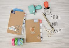 Happiness is Scrappy: Tutorial⎪Stitch Your Stamps *Evalicious* - stitched cover & mini album