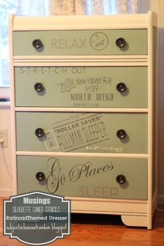Musings: Vintage Rail Travel Themed Dresser ~ love all the typefaces and the vintage look!
