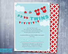 Thing 1 & Thing 2 Baby Shower Invitation - Twin Baby Shower Invite - Modern, Customizable, Printable JPG File