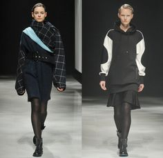 Ujoh by Mitsuru Nishizaki 2014-2015 Fall Autumn Winter Womens Runway Looks - Mercedes-Benz Fashion Week Tokyo Japan Catwalk Fashion Show - Windowpane Check Outerwear Trench Coat Funnelneck Skirt Frock Stripes Hoodie Knit Ruffles Stockings Tights Waffle Quilted Jacket Wide Belt Sweatshirt Sweater Jumper Weave Woods Forest Print Dress