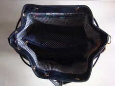 Bolsa Saco - Azul - Couro Ecológico