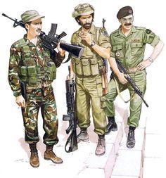• Militiaman, 'Lebanese Forces'; Beirut, Dec. 1983  • Militiaman, Maj. Haddad's 'South Lebanese Army'; June 1982  • Officer, Phalangist 'Lebanese Forces'; Beirut, Sept. 1982