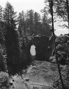 Natural bridge on the Oregon coast near Brookings, Oregon c1940 My favorite place!