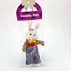 "Cuddly Pals Bunny Rabbit 8"" Stuffed Doll Vtg Easter Unlimited Vinyl Head Sealed"