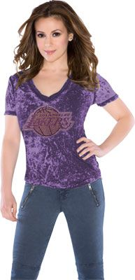 Touch by Alyssa Milano Los Angeles Lakers Fade Route Crystals V-Neck T-Shirt