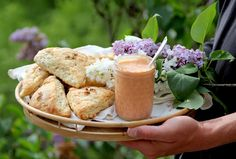 Lilac Scones with Rhubarb Curd...would love to VEGANIZE this if I can find some organic lilacs...