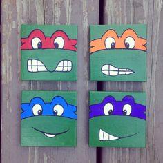 4 Piece Teenage Mutant Ninja Turtle Paintings by GeekzandFreaks
