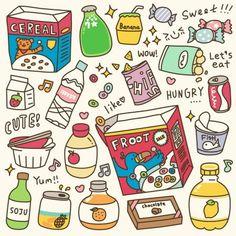 Food Doodles, Kawaii Doodles, Cute Doodles, Cute Food Drawings, Cute Kawaii Drawings, Easy Drawings, Food Cartoon, Christmas Drawing, Bullet Journal Ideas Pages