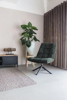 Vintage Draaifauteuil Crawler Velours Groen   Oosterbaan Living Velvet Shop, Barcelona Chair, Eames, Zen, Lounge, Furniture, Garage, Home Decor, Products