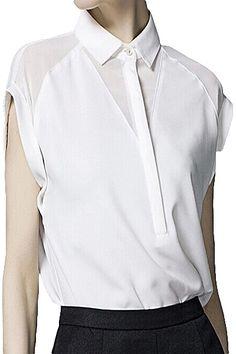 Short Sleeve Solid Color Chiffon Shirt