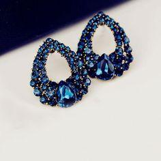 water drops Blue Sapphire rhinestone earrings //Price: $5.95 & FREE Shipping //     #fashionjewelry