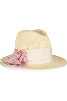 Grosgrain-trimmed straw panama hat #accessories #covetme #lanvin