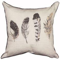 Idaho Feather Pattern Filled Cushion, Stone