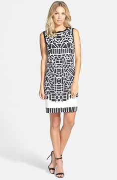 Nicole Miller Print Stretch Linen Blend Sheath Dress available at #Nordstrom  // 290