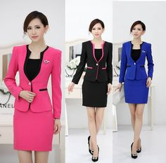 New 2014 Autumn And Winter Uniform Design Professional Business Work Wear Suits With Skirt For Ladies Office Blazers Set S-3XL